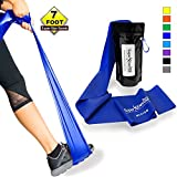 SUPER EXERCISE BAND® Medium BLUE Resistance Band. Your Home Gym Fitness Equipment Kit for Strength Training, Physical Therapy, Yoga, Pilates, Chair Workout | LATEX FREE For ALLERGIC SAFETY | 7 ft