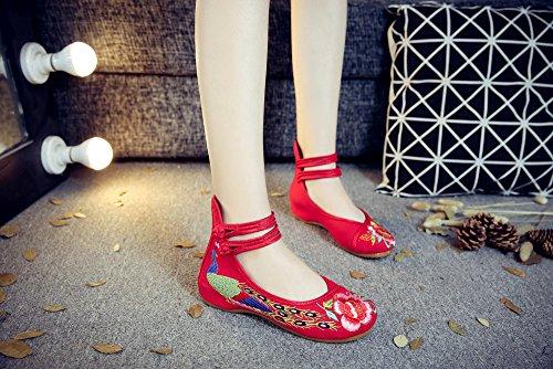 Rojo Estilo de de Mary Mujer La Las Bordado Ligero Zapatos Jane XFentech Sandalias Lona oras Correa B Se La del de SUHpnn0