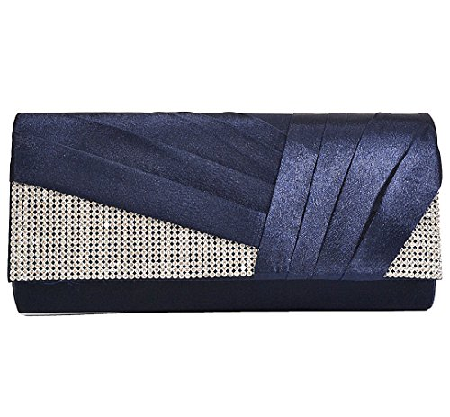 U-Story Womens Satin Pleated Evening Clutch Rhinestone Wedding Prom Purse Handbag (Navy Blue)