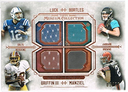 2014 Topps Museum Collection Quad Player Relics Copper Jersey #FPQRLBGM Johnny Manziel/Blake Bortles/Robert Griffin III/Andrew Luck #d 03/50 RC Rookie ()
