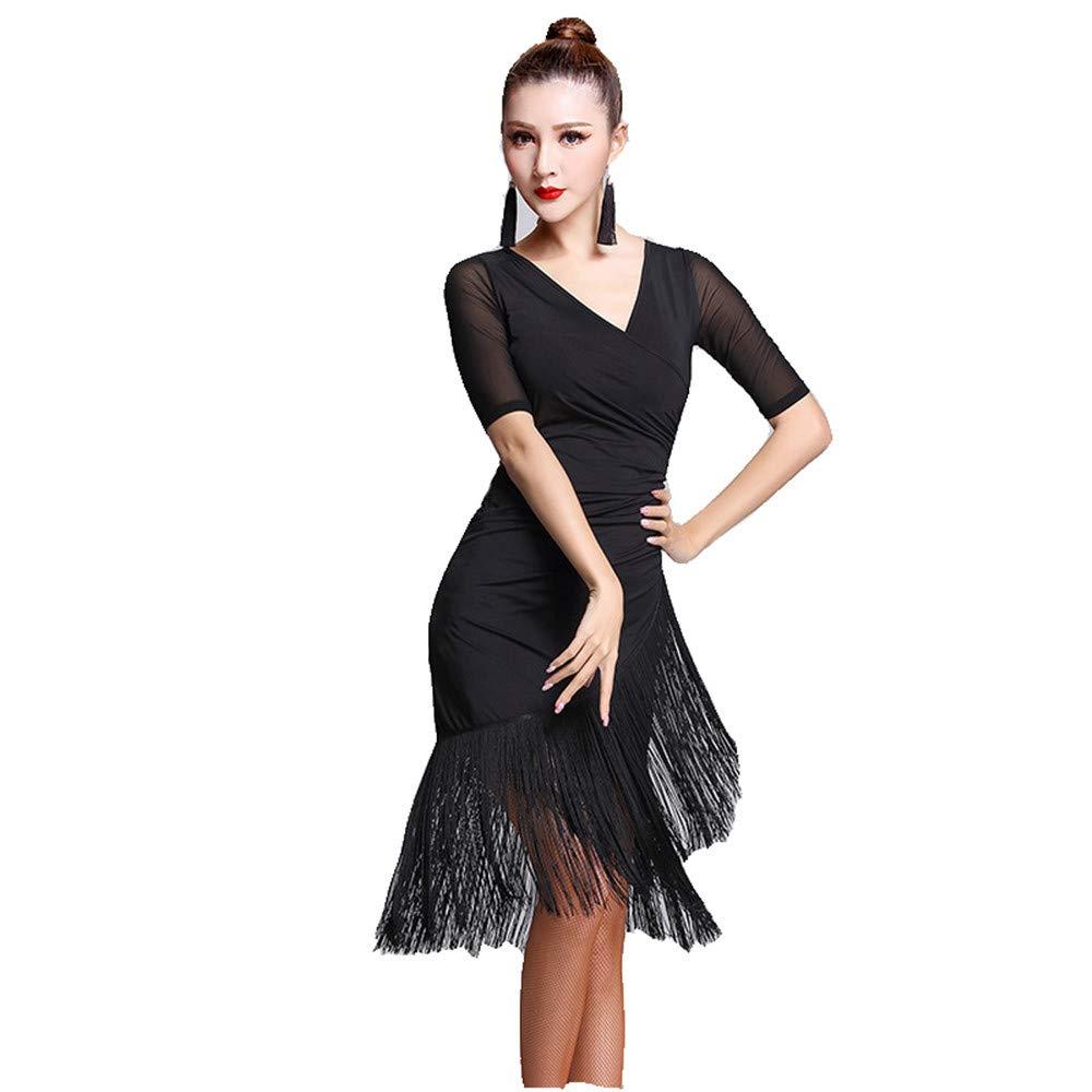 Noir XX-grand Robe de soirée de danse pour femmes Femmes Danse Danse à Manches Courtes Col V Franges Glands Salle De Bal Samba Tango Robe De Danse Latine Costumes Costumes élégant ( Couleur   Noir , Taille   L )