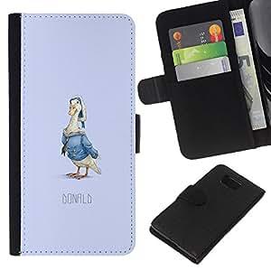 YiPhone /// Tirón de la caja Cartera de cuero con ranuras para tarjetas - Pato divertido Donald - Samsung ALPHA G850