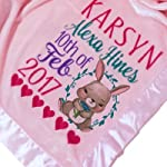 Kids-Pillowcases-By-Stockingfactory-Personalized-Baby-Blankets-30×40-Pink-Micro-Plush-Fleece-with-Satin-Edge-for-Girls-with-Name-Birth-for-Newborn-Baby-Room-Nursery-Christening-or-Baptism