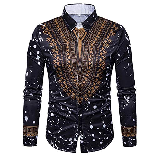 Sumen Men Dress Shirts,African Print Long Sleeves Slim Fit Dashiki Shirt