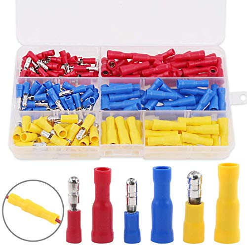 Hilitchi 160pcs Bullet-Famle/Male Insulated Terminals Electrical Wiring Wire Crimp Connectors Set
