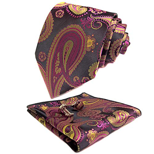 CANGRON Men Berry Pink Paisley Tie Set Necktie with Pocket Square Cufflinks +Giftbox LSP8MH