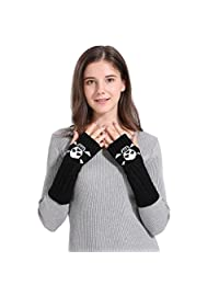 Lavany Women's Girls Knit Arm Fingerless Winter Warm Skull Printed Gloves Mitten
