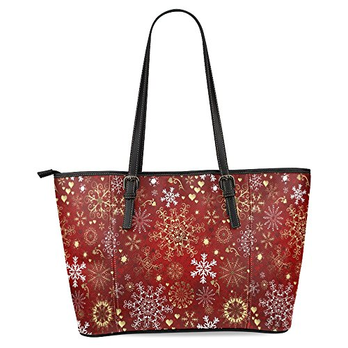 - InterestPrint Christmas Red with Gold and White Snowflakes Women's Leather Tote Shoulder Bags Handbags