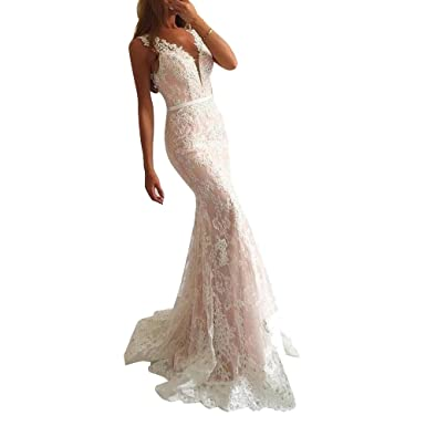 cbb9cf3854cd Abaowedding Women's Lace Appliques Mermaid Prom Dress Long V Neck Evening  Formal Gowns Ivory ...