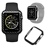 Authentic Carbon Fiber Watch Case for Apple Watch Series 4 44mm,Durable Shockproof iWatch case High-Gloss/Twill Weave Finish (44mm)