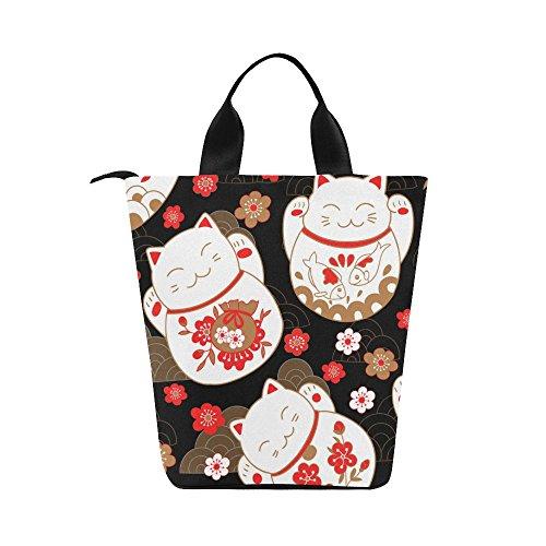 InterestPrint Cats Maneki Neko Lucky Charms Black Nylon Cylinder Lunch Bag Tote Shopping Handbag, Japan Sakura Flowers Reusable Large Lunchbox Grocery Bag 12.40