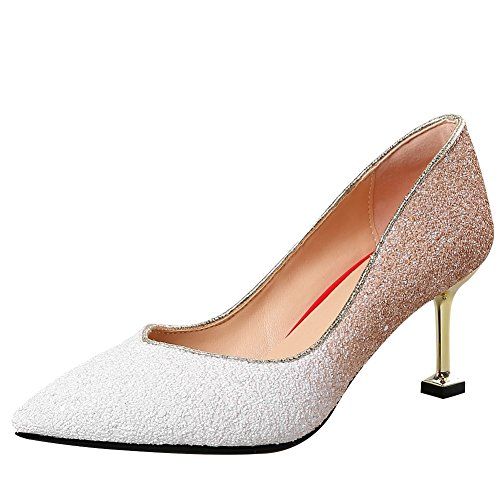 Heel Foot Charm Shoes mid Pumps Heel Sequins White Womens Multicolor High FddwBvq