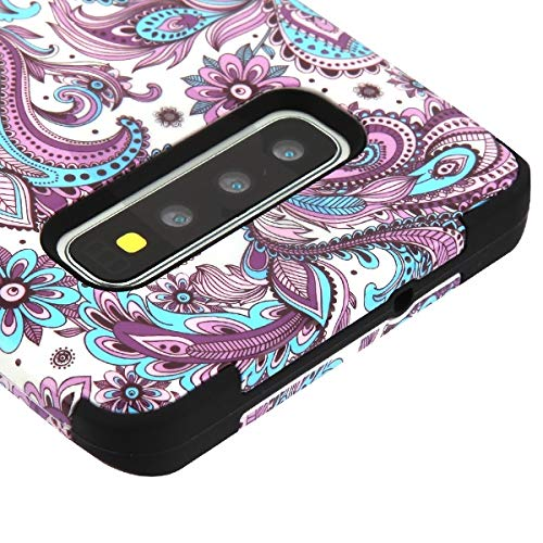 Kaleidio Case Compatible for Samsung Galaxy S10 G973 [TUFF] Rugged Armor 3-Piece [Shock/Impact Protection] Dual Layer Hybrid Rubber Cover [Purple Flower Paisley Design]