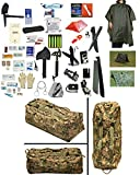 1 Person Supply 5 Day Emergency Bug Out S.O.S. Food Rations, Drinking Water, LifeStraw Personal Filter, First Aid Kit, Tent, Blanket, Woodland Duffel Bag, OD Poncho + Essential 21 Piece Survival Set
