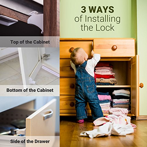 Magnetic Baby Safety Locks for Cabinets & Drawers - Baby Proof & Easy Install - No Screws or Drilling - 8+2 Set by Purple Safety (Image #4)