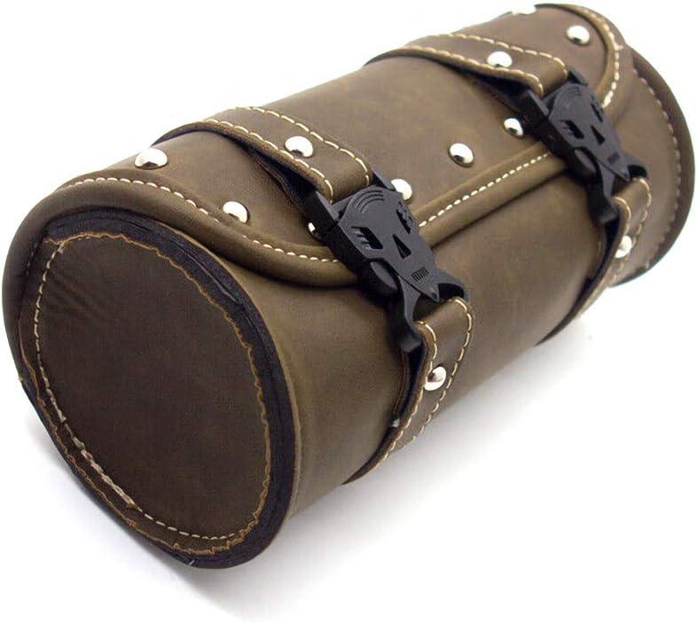 Bohisen Motorcycle Fork Bag Handlebar Bag Bar Tool Bag for Harley Honda Yamaha Suzuki Roll Tool Bag Leather Tool Mounting Straps