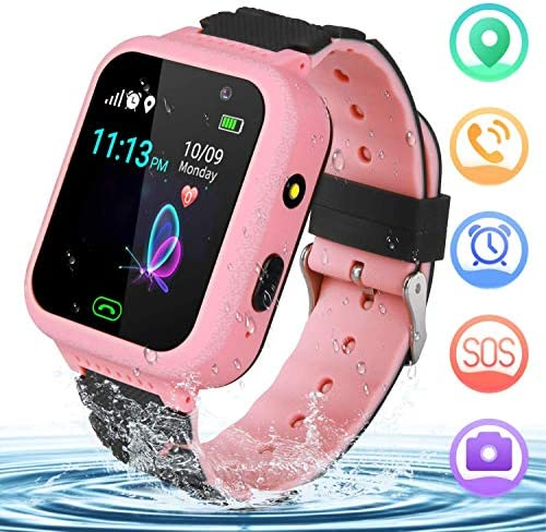 YENISEY Kids Smart Watch GPS Tracker – GPS Smartwatch Phone for Children Girls Boys with SOS Call Camera Flashlight Touch Screen Game Alarm for 3-14 Year Old Students Kids Birthday Gifts Pink
