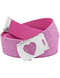 Girl's School Uniform Silver Slider Heart Belt Buckle with Canvas Web Belt