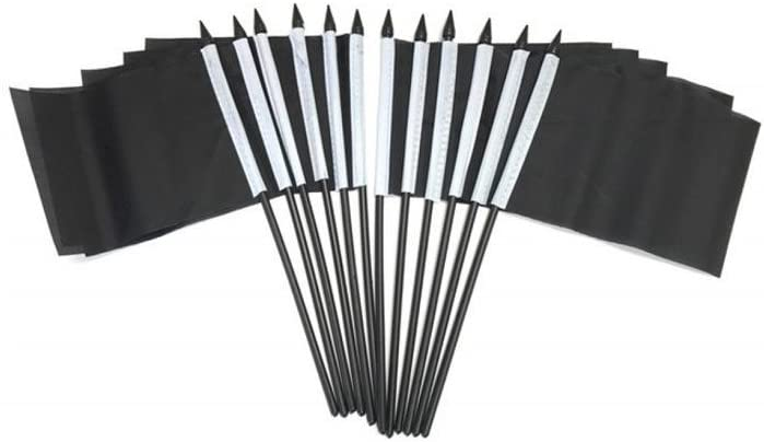 Ks Novelties Pack of 12 4x6 Solid Black Miniature Desk /& Table Flags 1 Dozen 4x 6 Solid Black Small Mini Stick Flags only Flags