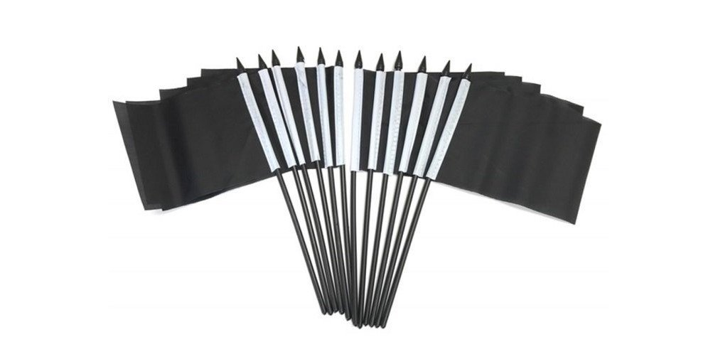 PACK of 12 4''x6'' Solid Black Miniature Desk & Table Flags, 1 Dozen 4''x 6'' Solid Black Small Mini Stick Flags (only Flags)