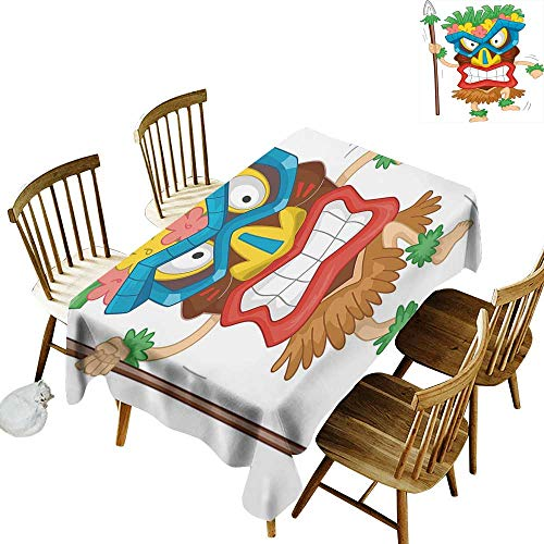 Tiki Bar Decor Easy to Care for Leakproof and Durable Long tablecloths Outdoor Picnic Native Man Wearing Mask Illustration Cartoon Tribal Costume Primitive Ritual W70 x L120 Inch Multicolor ()
