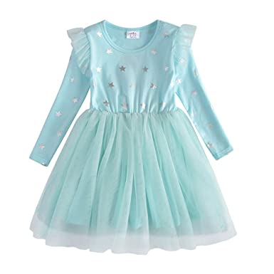 VIKITA - Vestido de Manga Larga para niña, algodón, diseño de ...
