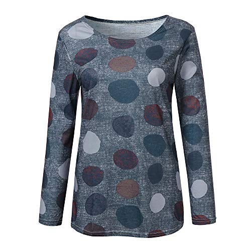 Pois Rond Blanche Taille ALIKEEY Manches Grande col Hiver Manteau Chemisier Chemise vert Femme Longues Femme anHpF