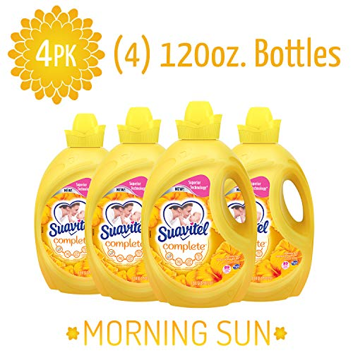 - SUAVITEL Fabric Softener, Morning Sun, Laundry Supplies, Long Lasting, Sensitive Skin Fabric Softener, Softens Clothes, 120 Ounce Bottle (Pack of 4) (Model Number: US04177A)