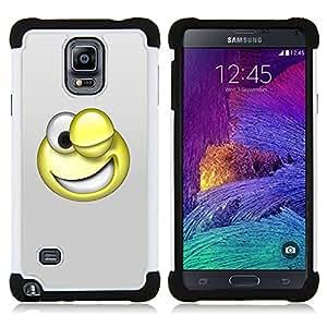 BullDog Case - FOR/Samsung Galaxy Note 4 SM-N910 N910 / - / 3D Funny Smiley /- H??brido Heavy Duty caja del tel??fono protector din??mico - silicona suave