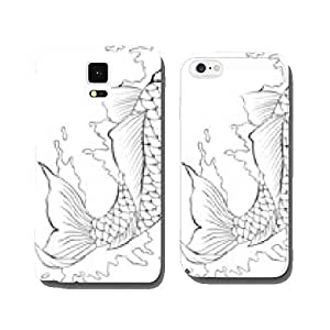 Black and white koi fish tattoo cell phone cover case Samsung S6