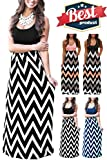 Mommy Jennie Womens Summer Boho Empire Chevron Tank Top Casual Maxi Long Dress Beach Dresses (A-Black, X-Large)