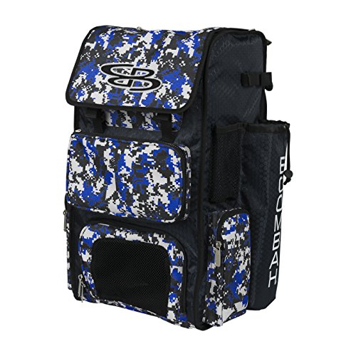Boombah Superpack Bat Pack -Backpack Version (no Wheels) - Holds 2 Bats - Camo Black/Royal Blue - for Baseball or Softball