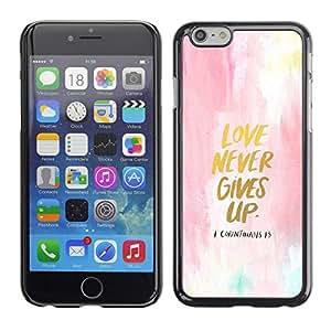 El amor nunca se da por vencido Acuarela Oro texto - Metal de aluminio y de plástico duro Caja del teléfono - Negro - Apple (4.7 inches!!!) iPhone 6 / 6S