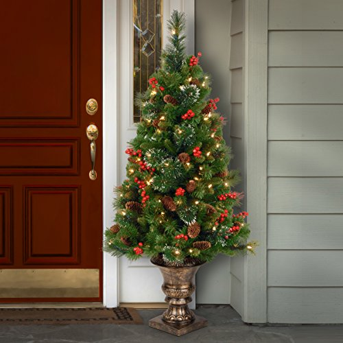 National Tree 4 Foot Crestwood Spruce Entrance Tree with Cones, Glitter, Red Berries, Silver Bristle and 100 Clear Lights in Decorative Urn (CW7-306-40) by National Tree Company (Image #1)