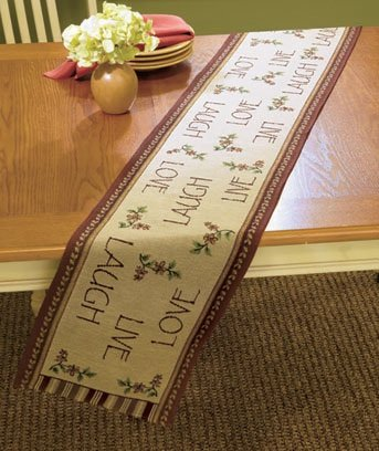 Superior Live Laugh Love 72u0026quot; Primitive Country Tapestry Table Runner