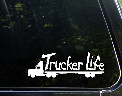 "Trucker Life - 8-3/4"" x 3"" - Vinyl Die Cut Decal/ Bumper Sticker For Windows, Cars, Trucks, Laptops, Etc."