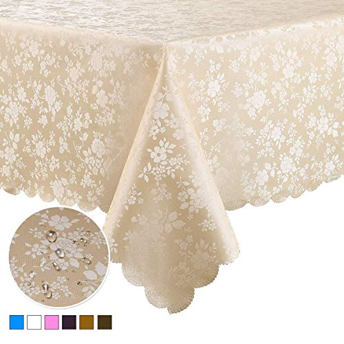 Locika Washable Vinyl Tablecloth Rectangle Heavy Duty Plastic Tablecloth Waterproof Spillproof Tablecloth for Indoor and Outdoor Use (Beige, 60