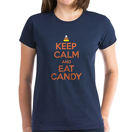 CafePress Keep Calm and Eat Candy T-Shirt Womens Cotton T-Shirt Navy]()