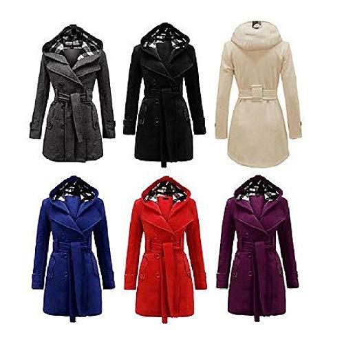 Blend Wool Jacket Ivory (FidgetGear New Women's Warm Winter Hooded Trench Coat Wool Blends Long Jacket Outwear Tops Ivory M)