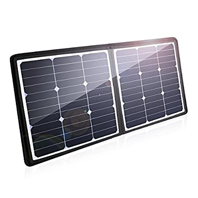 POWERADD 100W Solar Charger, 18V 12V SUNPOWER Solar Panel Water/Shock / Dust Resistant Foldable Panel for Laptop, MacBook, iPhone, Samsung, Generator, ChargerCenter, UPS and More
