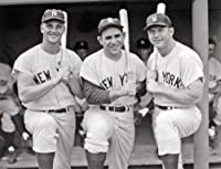 The New York Yankees Roger Maris, Yogi Berra, and Mickey Mantle, Classic Black and White 8x10 Photograph.