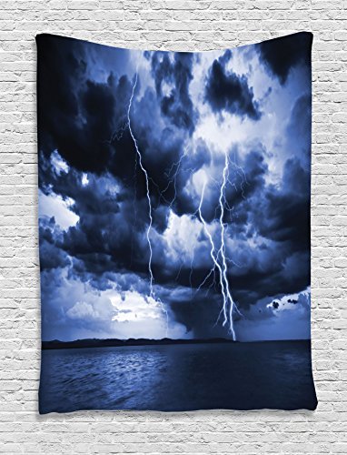 Rain Wall Hanging - Ambesonne Nature Tapestry, Majestic Sky View with Huge Rain Clouds All Over The Sea and Vibrant Storm Rays Print, Wall Hanging for Bedroom Living Room Dorm, 60