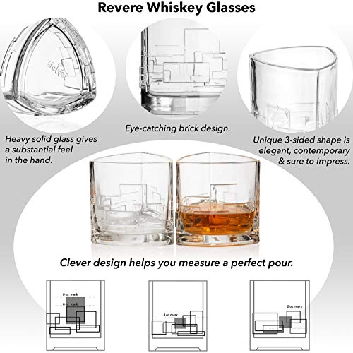 JoyJolt Revere Scotch Glasses, Old Fashioned Whiskey Glasses 11-Ounce, Ultra Clear Whiskey Glass for Bourbon and Liquor, Set Of 2 Glassware by JoyJolt (Image #2)