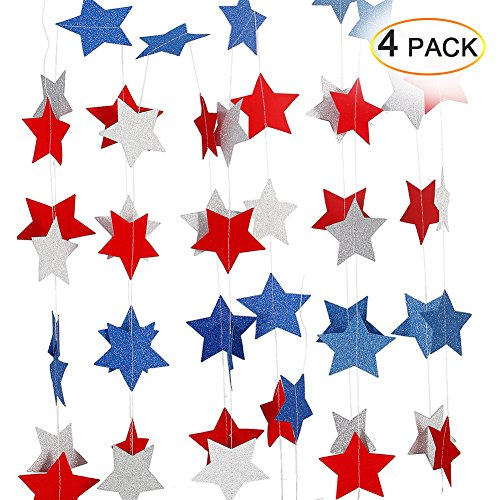 Lumiparty Patriotic Decorations Hanging Streamers (4 Pack), 4th of July Decorations, Red White Blue Star, Patriotic Party Supplies, DIY Birthday Party Decorations, DIY Room Decorations -