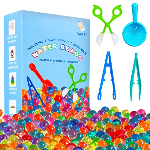 KINFAYV Water Beads  70000 Beads 1 Scoop 2 Tweezers 1 Spoon Soft Water Jelly Beads Motor Skills Toy SetNonToxic Water Sensory Toy for Tactile ToysSensory ToysEarly Skill Development
