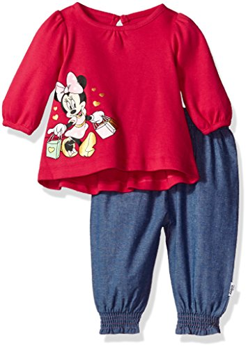 Disney Baby Girls' Minnie Mouse 2 Piece Top and Chambray Pant, Barberry, 6-9 Months