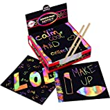 Scratch Art Kit – Magic Scratch Off Notes & [2] Stylus Tools for Kids & Adults – 100 Black Paper Sheets – Create Colorful Rainbow Cards, Bookmarks, Notes, Pictures & Other Art Without Ink Reviews