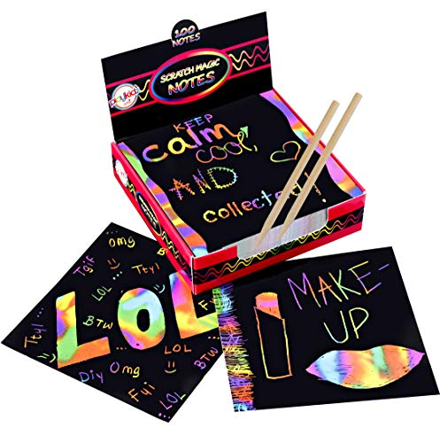 Scratch Art Kit – Magic Scratch Off Notes & [2] Stylus Tools for Kids & Adults – 100 Black Paper Sheets – Create Colorful Rainbow Cards, Bookmarks, Notes, Pictures & Other Art Without Ink -