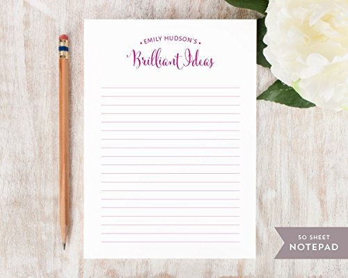Personalized Pads Stationary - BRILLIANT IDEAS NOTEPAD - Personalized Everyday Stationery/Stationary 5x7 or 8x10 Note Pad