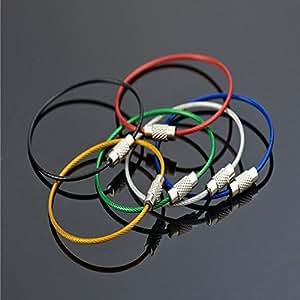 nicebuty 20 unidades Llavero alambre de acero inoxidable llavero Cable clave surtidos 5 colores negro y plata azul verde rojo